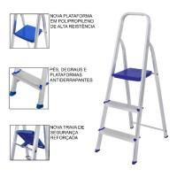 Escada Domestica 3 Degraus Em Alumínio Antiderrapante Mor
