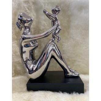 Escultura Decorativa de Cerâmica Prata Mãe e Filho