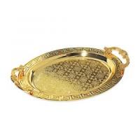 Bandeja Oval De Metal Com Alça Dourada 33X50CM Vylux