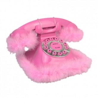 Telefone Decorativo com Pluma Rosa MTELEFONE3010