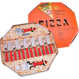 Conjunto para pizza com 14 peças Vermelho - Tramontina
