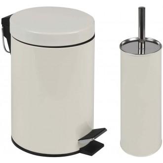 Conjunto Ágata Lixeira 3 Litros E Escova Para Higienização De Vaso Sanitário Beg Mor