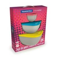Conjunto de potes 3 peças Mix Color Tramontina 25099/954